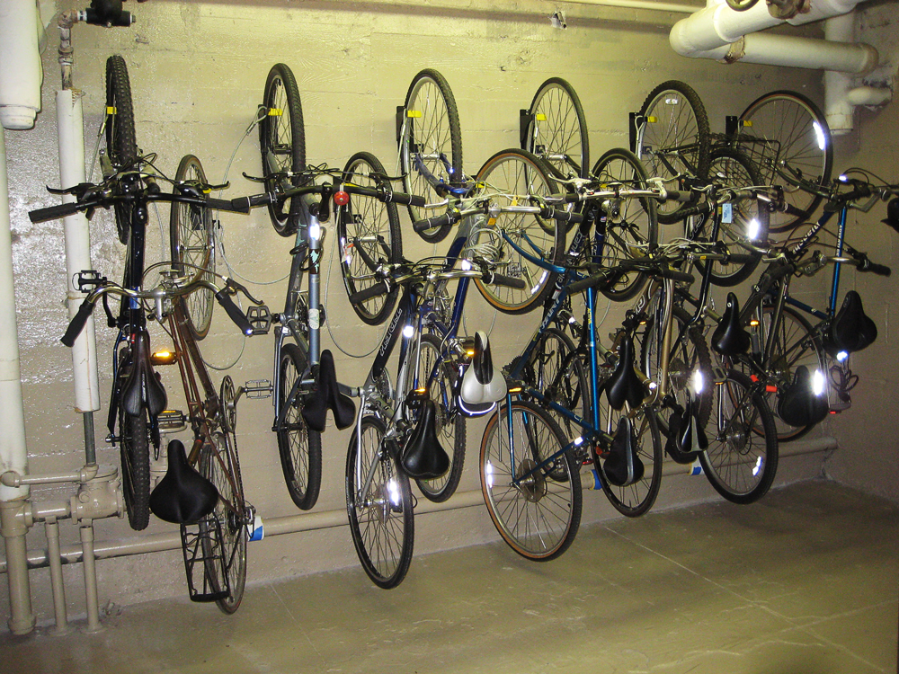 Bicycle Wall Riders can be mounted at an offset to optimize storage space on existing walls.