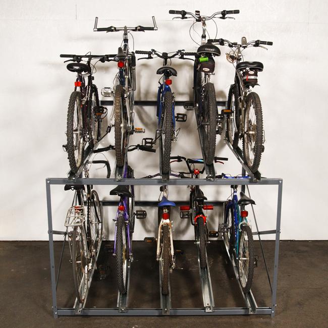 Bike Stacker Multiple Bicycle Storage Rack With Various Types Of Bikes.
