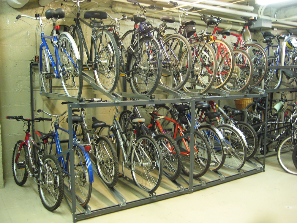 Bike Stacker storage racks can be placed side-by-side to accomodate virtually any number of bicycles.