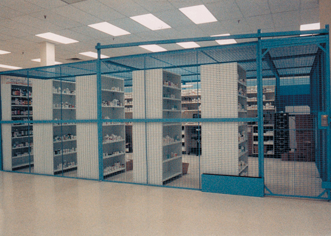 Featuring self-closing & self-locking doors, solid steel construction, with panels mounting flush to the floor, our drug storage cages are perfect for pharmacies and drug warehouses.