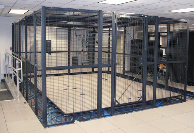 Server Cages constructed from wire partitions can be mounted on raised computer floors; ideal for separating and securing company servers and network equipment.