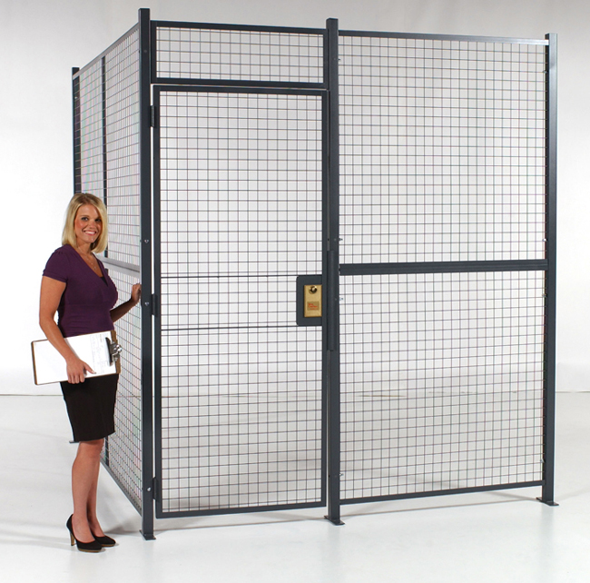 A Style 840 Wire Partition Cage constructed using wire mesh panels and configured with a locking, hinged door.